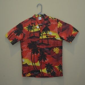 ROYAL CREATIONS HAWAIIAN SUNSET & PALMS RED YELLOW